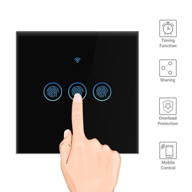 スマートライトスイッチワイヤレス壁インタラプタタッチ制御無線lanスイッチと互換性alexa googleアシスタントifttt android