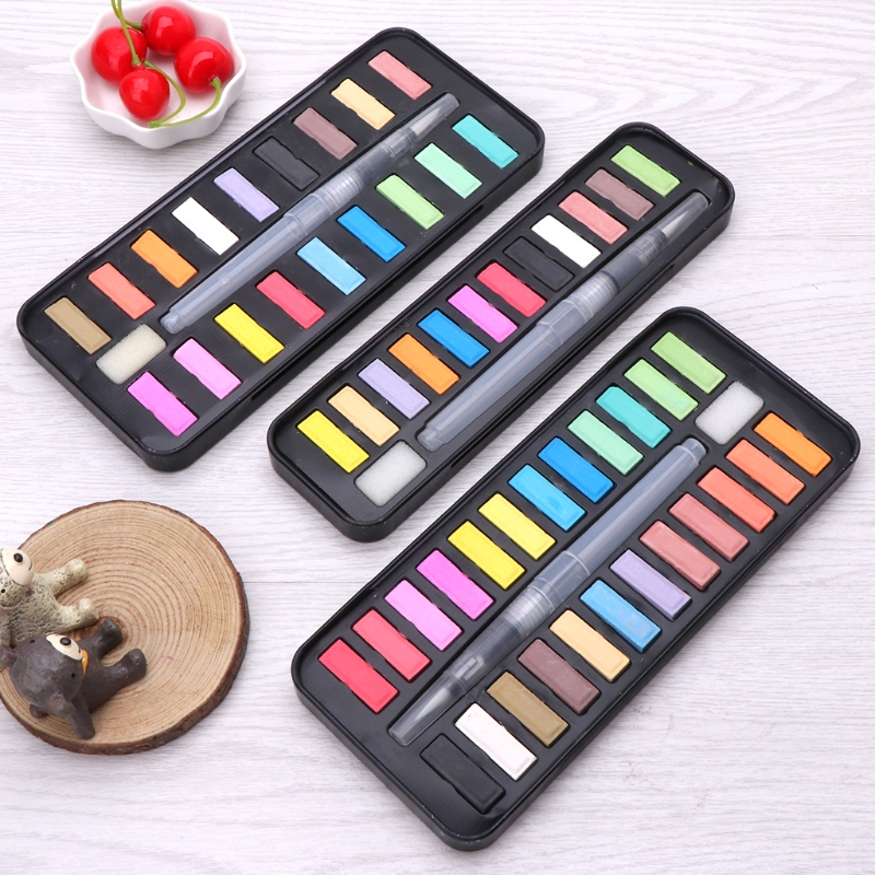 12/18/24 Solid Watercolor Paint Set Portable Drawing Brush Art Painting Supplies H7EC