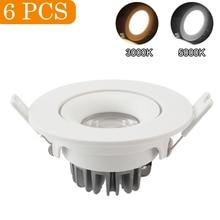 6pcs/pack Spotlight Lights 3000K/5000K COB Home Light Recessed Ceiling Lamp LED Bulb Dimmable