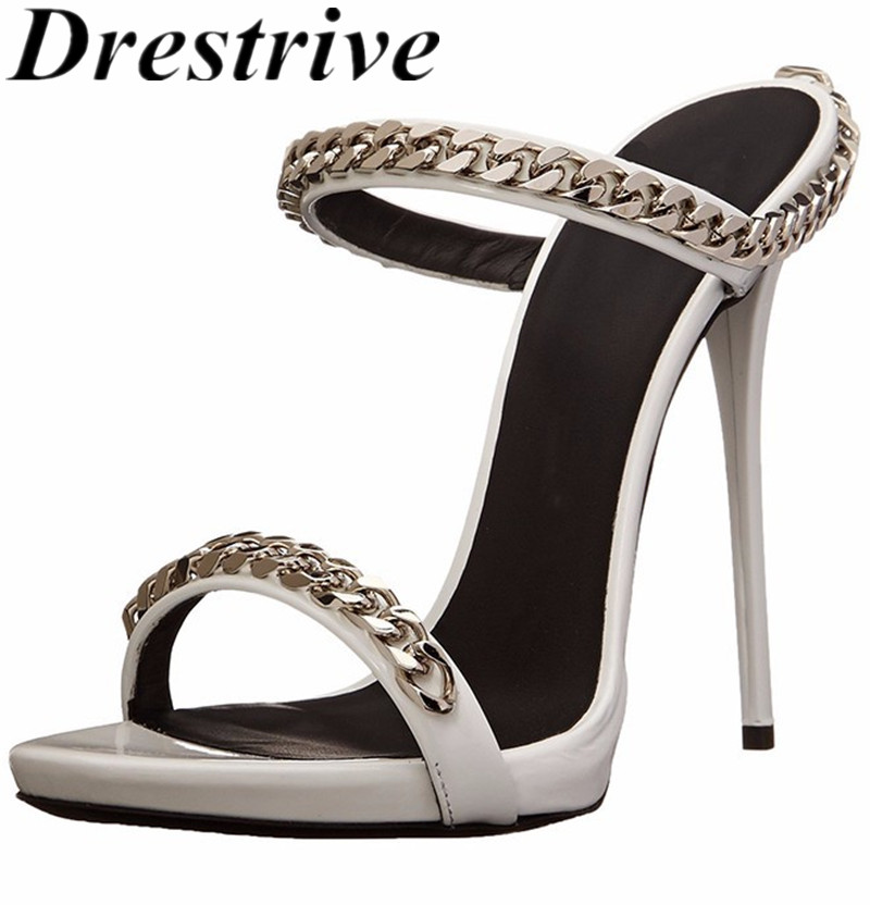Drestrive Customize Women's Sandals Thin Heels Chain Round Toe 2020 Summer Female High Heel Shoes Party Sexy Plus Size US 12