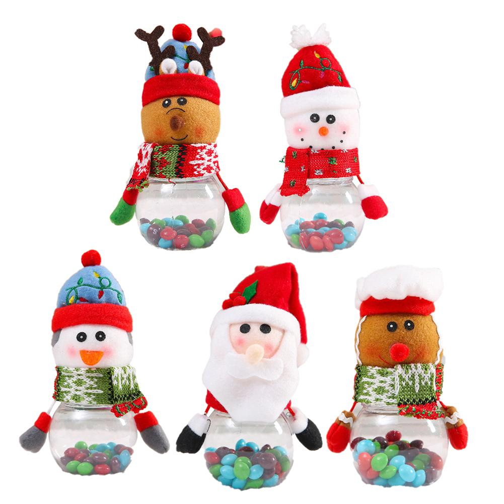Christmas Children's Candy Jar Elderly Snowman Fawn Decorations Props Gift Party Supplies Transparent Jar Home Decoration