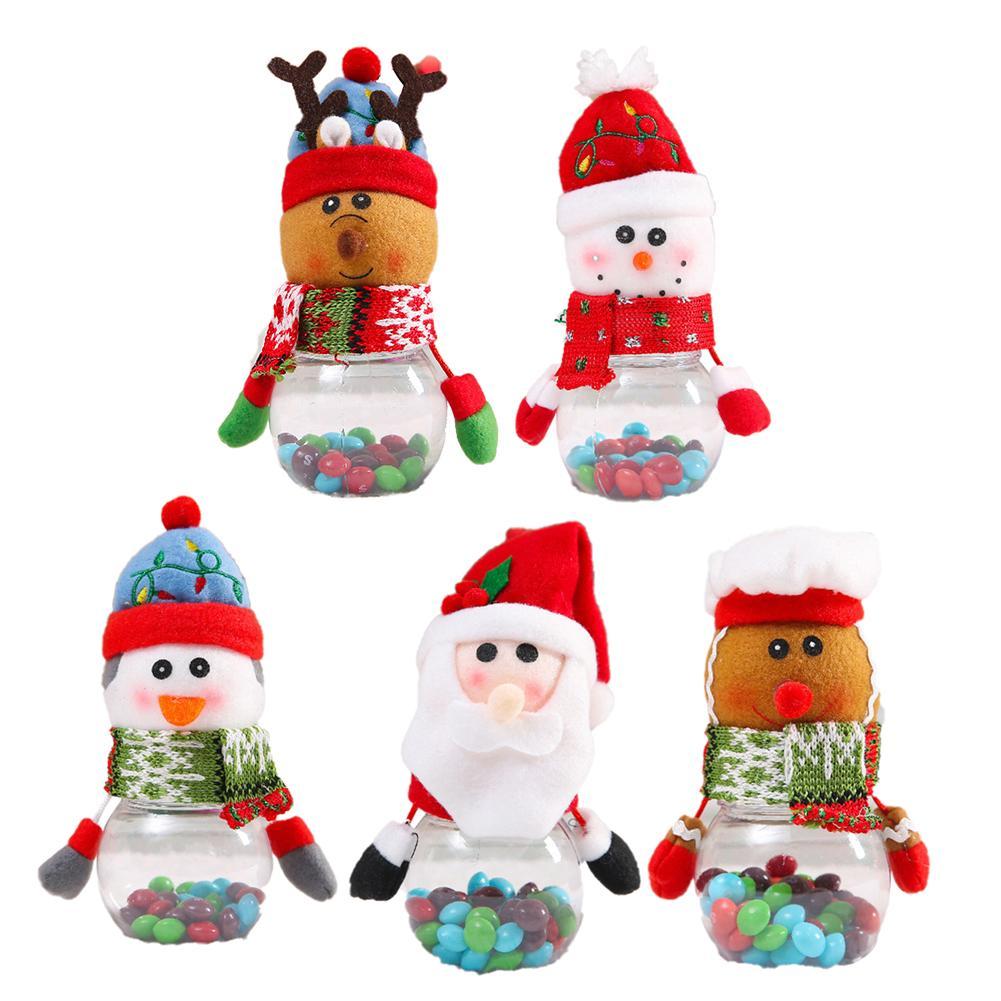 Christmas Children's Candy Jar Elderly Snowman Fawn Decorations Props Gift Party Supplies Transparent Jar Home Decoration