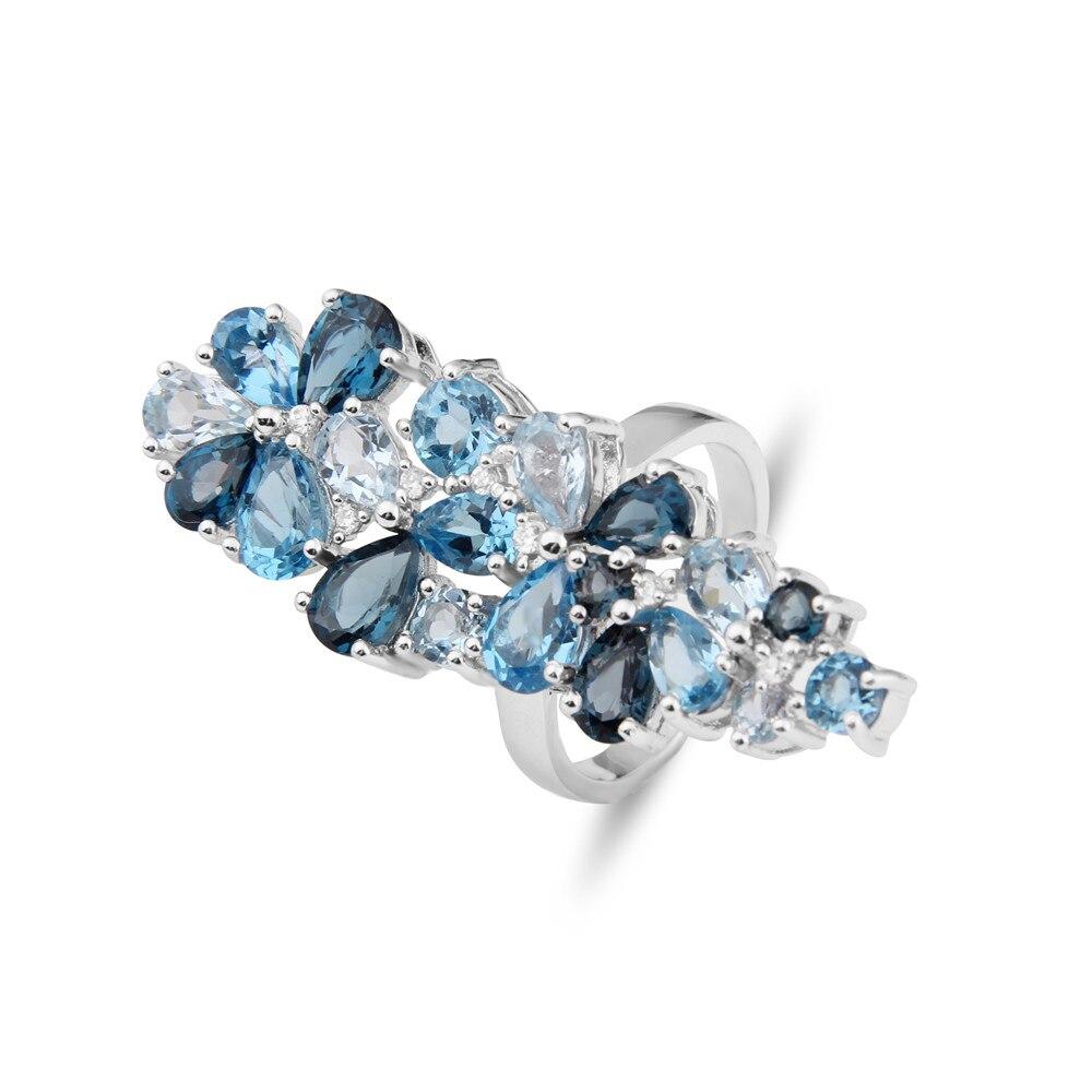 Takı ve Aksesuarları'ten Halkalar'de Mücevher Bale Marka Moda Doğal Londra Mavi topaz taş yüzükler Hakiki 925 Ayar Gümüş Yüzük Kadınlar Için Güzel Takı'da  Grup 1