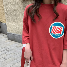 2020 T-shirts Women Milk Printed Kawaii BF Couple Clothes Unisex Loose Long Summer Tee Top Womens
