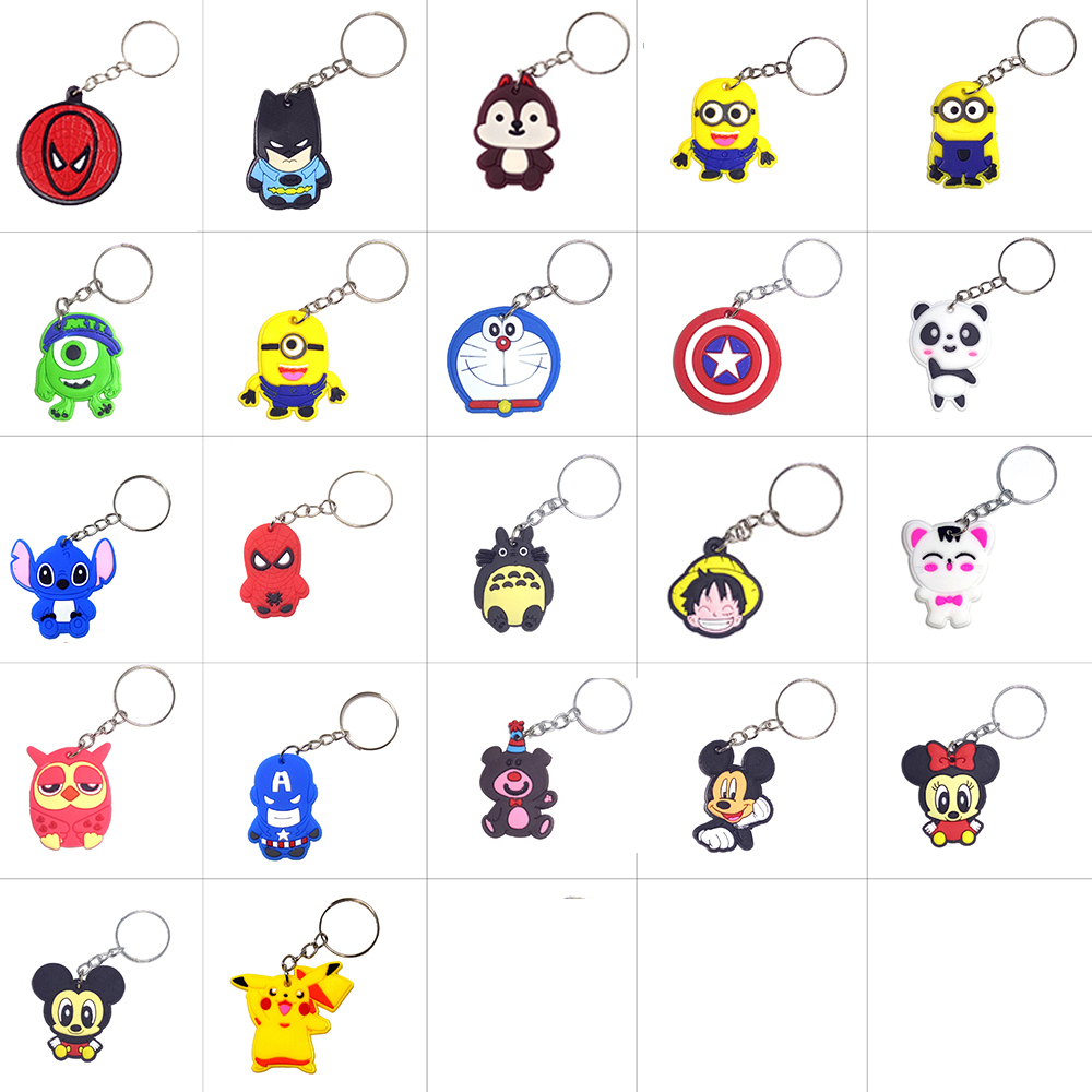 Anime Silicone Keychain Llaveros Key Chain Ring Bag Charm Key Holder Porte Clef Marvel Llavero Stitch Chaveiro