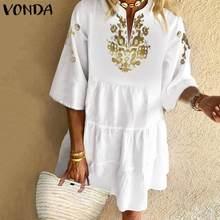 Summer Sundress Bohemian Women Vintage Floral Printed Dress VONDA 2020 Sexy Ruffles Mini Dress Holid