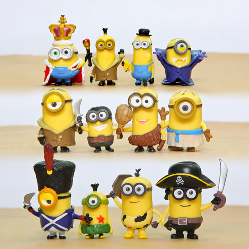12 шт./компл., миниатюрные фигурки героев мультфильмов, корона, Гадкий Миньон, игрушки, экшн-фигурки, модель, игрушки для детей, подарок на Рожд...