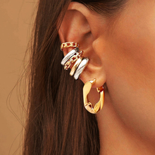 Cartilage Earrings Link-Chain Jewelry Punk-Rock Earcuffs-Statement No-Piercing Gold-Color