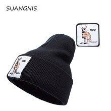 Bonnet tricoté avec broderie d'animaux pour homme et femme, Streetwear, couleur unie, automne et hiver