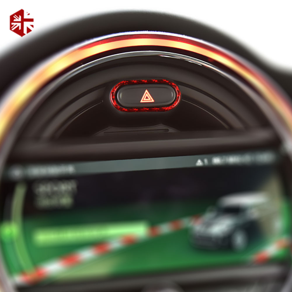 <font><b>Carbon</b></font> Fiber Car Interior Warning Light Button Covers Decoration Sticker For <font><b>MINI</b></font> Cooper S F55 <font><b>F56</b></font> JCW Clubman F54 Accessories image