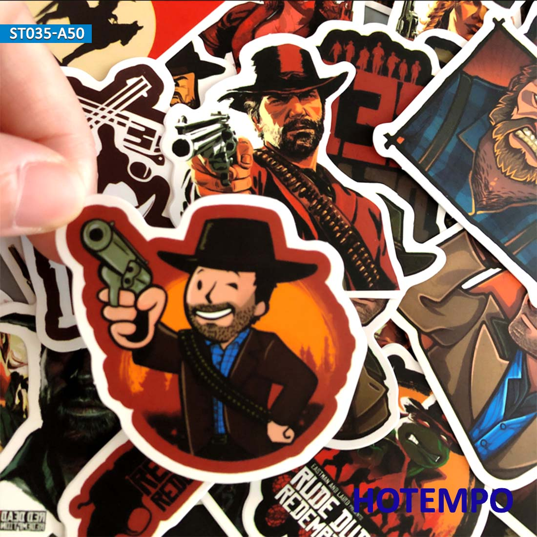 50pcs Game Stickers Red Dead Western Cowboy Style Redemption For Mobile Phone Laptop Luggage Case Skateboard Waterproof Stickers