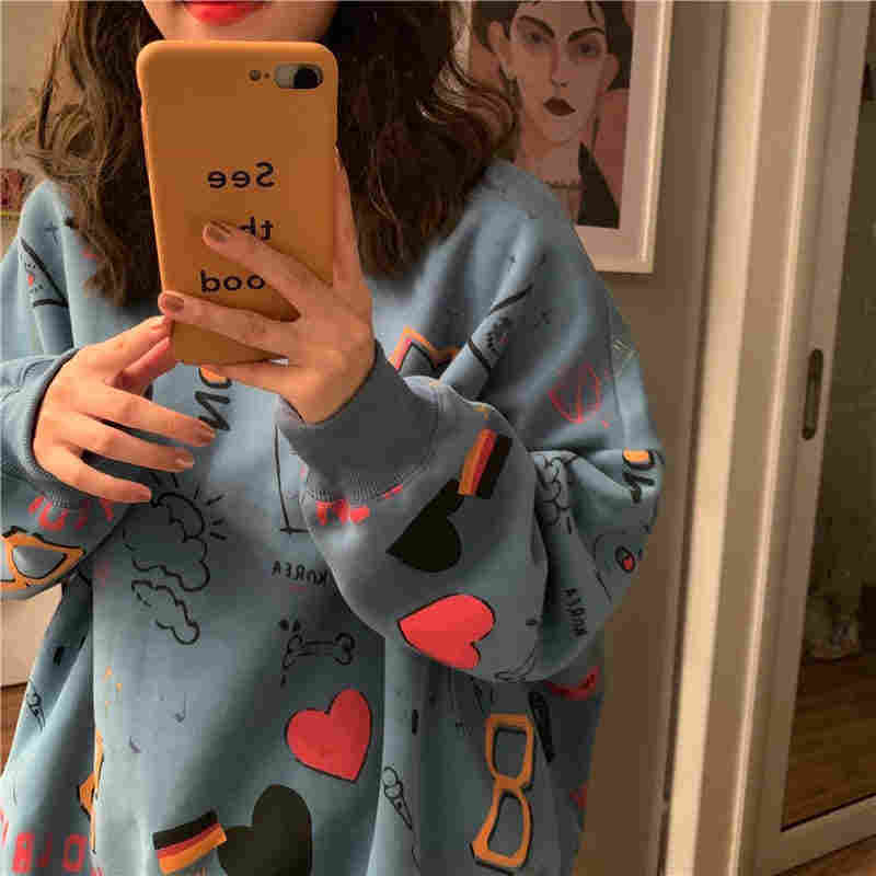 NiceMix 인쇄 특대 가을 새로운 한국 패션 여성 의류 하라주쿠 스타일 ulzzang 느슨한 긴 소매 후드 티 스웨터