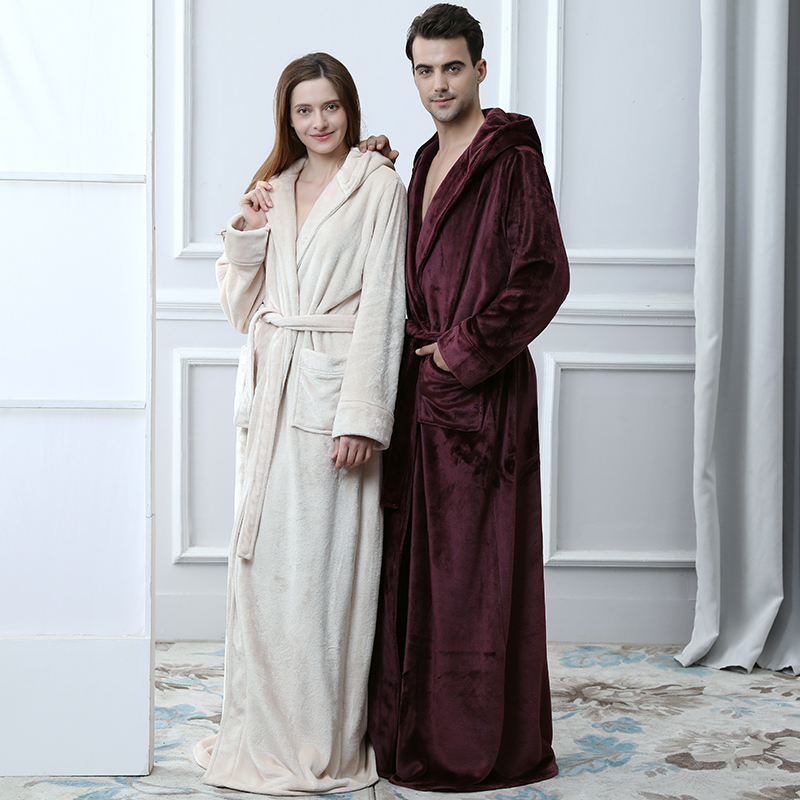 Men Winter Warm Thicken Extra Long Hooded Coral Fleece Bathrobe Kimono Flannel Bath Robe Night Dressing Gown Women Sleepwear