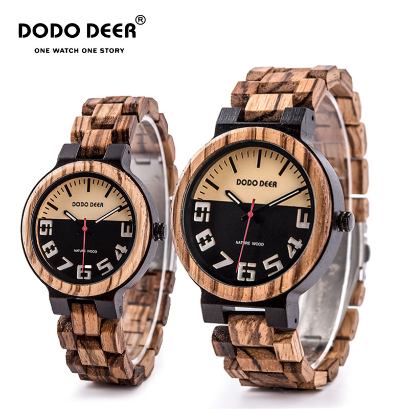 DODO DEER Wood Watch Men Elk Deer Engraving Watches Women Lovers' Wristwatches Relogio Masculino Accept Custom Dropship C11