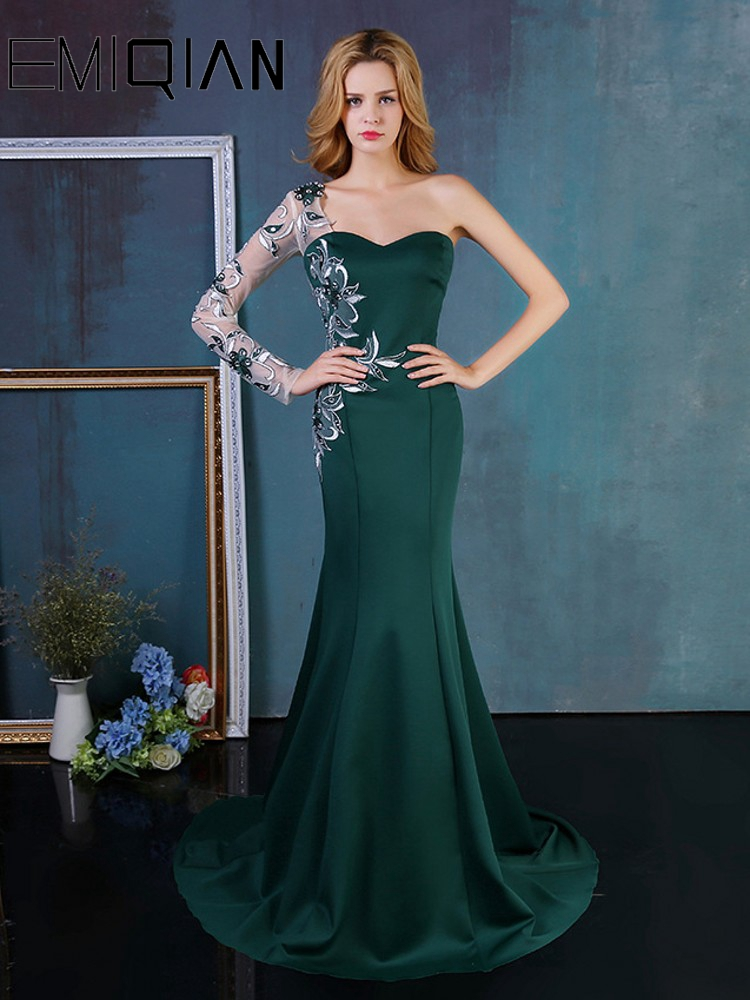 Long Sleeve Sweep Train Applique Crystals Formal Dress Green Mermaid Evening Dresses