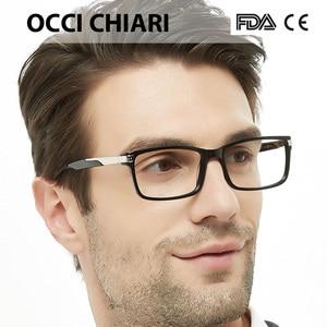 Image 1 - OCCI CHIARI Eyewear Frames Optical Eyeglasses Eyewear Gafas Rectangle Men Black Prescription Glasses Frames Clear Lens W CAPATI
