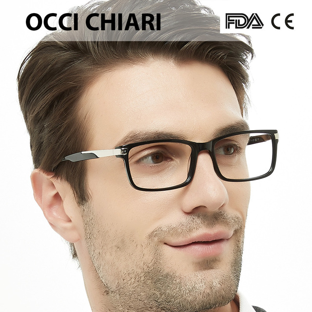 OCCI CHIARI Eyewear Frames Optical Eyeglasses Eyewear Gafas Rectangle Men Black Prescription Glasses Frames Clear Lens W CAPATI