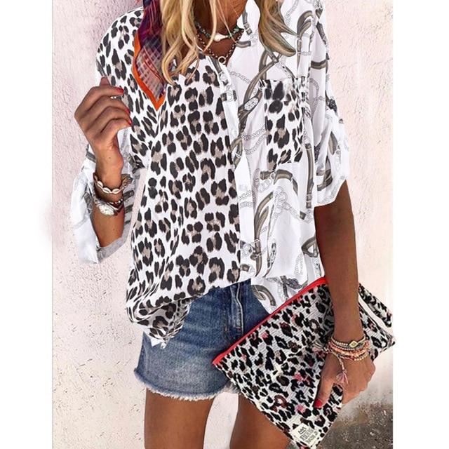 Plus size loose women blouse 2020 summer blouse shirts casual V-neck long sleeve leopard print women shirts 2