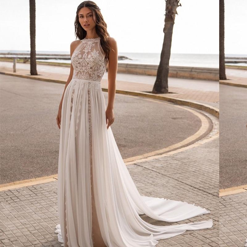 Bohemian Wedding Dress 2021 Vintage Sleeveless Backless Sweep Train Gorgeous Floor Length Robe De Mariee Low Back Charming
