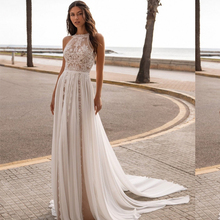 Bohemian Wedding Dress 2021 Vintage Sleeveless Backless Sweep Train Gorgeous Floor Length Robe De Mariee Low Back Charming