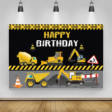Laeacco Baby Cartoon Excavator Engineering Vehicle Birthday Party Personalized Banner Photocall Photo Background Photo Backdrops