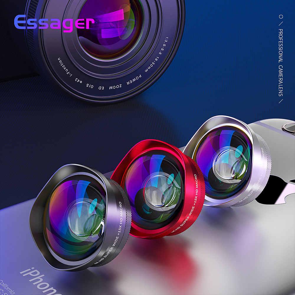 Essager 4 18K 広角マクロレンズ iphone の huawei 社 0.6X + 15X 電話カメラレンズズームレンズ携帯携帯電話レンズ