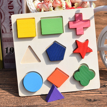 Montessori Early Educational Wooden 3D Puzzle Toy Geometric Shape Board Three Color Cognitive Board Children's Puzzle simingyou wooden toys puzzle color toy for color exerciseand shape identification exercise drop shipping