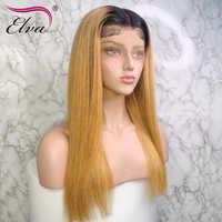 Elva pelo 1B/30 13x6 malla con división frente pelucas de cabello humano para las mujeres negras Pre arrancado con el pelo del bebé recto peluca con malla frontal Remy