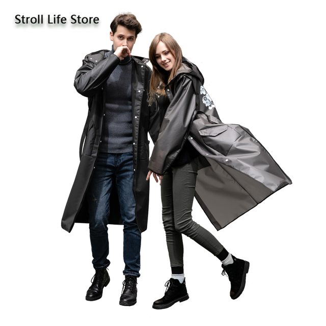 Adult Hiking EVA Raincoat Long Rain Jacket Coat Women Thickened Black Rain Poncho Waterproof Suit Rain Cover Capa De Chuva Gift