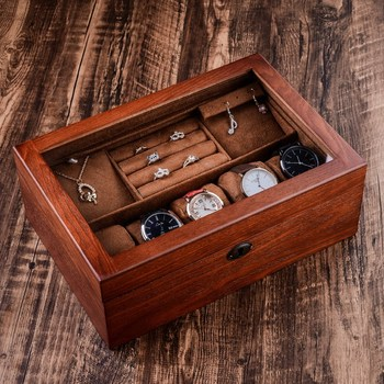 High-Grade Vintage Wood Jewelry Box Necklace Ring Bracelet Jewelry Storage Box Double Layer with Lock Yellow Interior