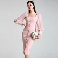 Fall Clothes For Women 2019 Formal Elegant Pencil Dresses Pink Square collar Chiffon Spliced Bubble Sleeve Dress Autumn Clothes