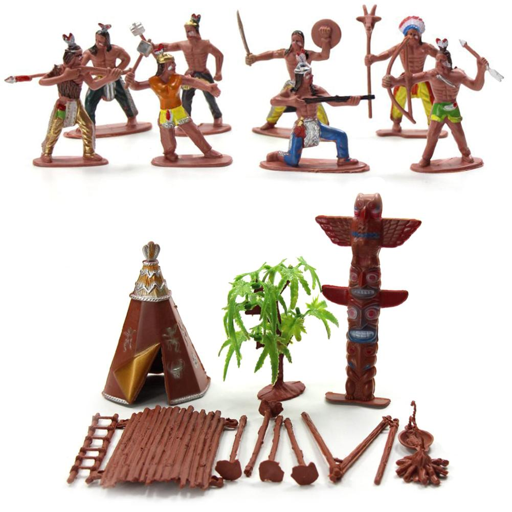 13Pcs/Set Indian Tribes Figures Model Home Desk Decor DIY Scenery Accessory Educational Toys Birthday Gifts