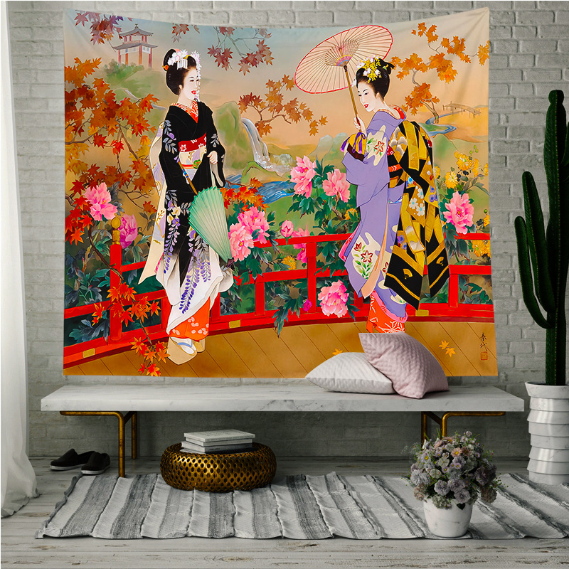 Japanese Tapestry Wall Fabric Geisha Wall Hanging Tapestry Women  Polyester Door Curtain Kitchen Restaurant Wall Home Decoration