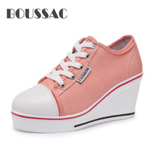 BOUSSAC  2019 women canvas shoes wedge heel lace up low top fashion woman sneakers platform lady casual shoes woman sneakers metallic color woman shoes front lace up woman casual shoes low top rivets embellished platform woman flats brand