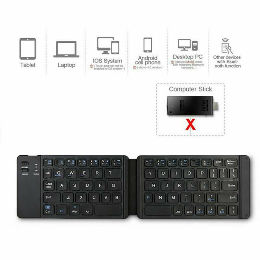 Bluetooth Folding Keyboard Wireless Keyboard Light And Handy USB Charging Mini Wireless Folding Keyboard 67 Key For Tablet Phone