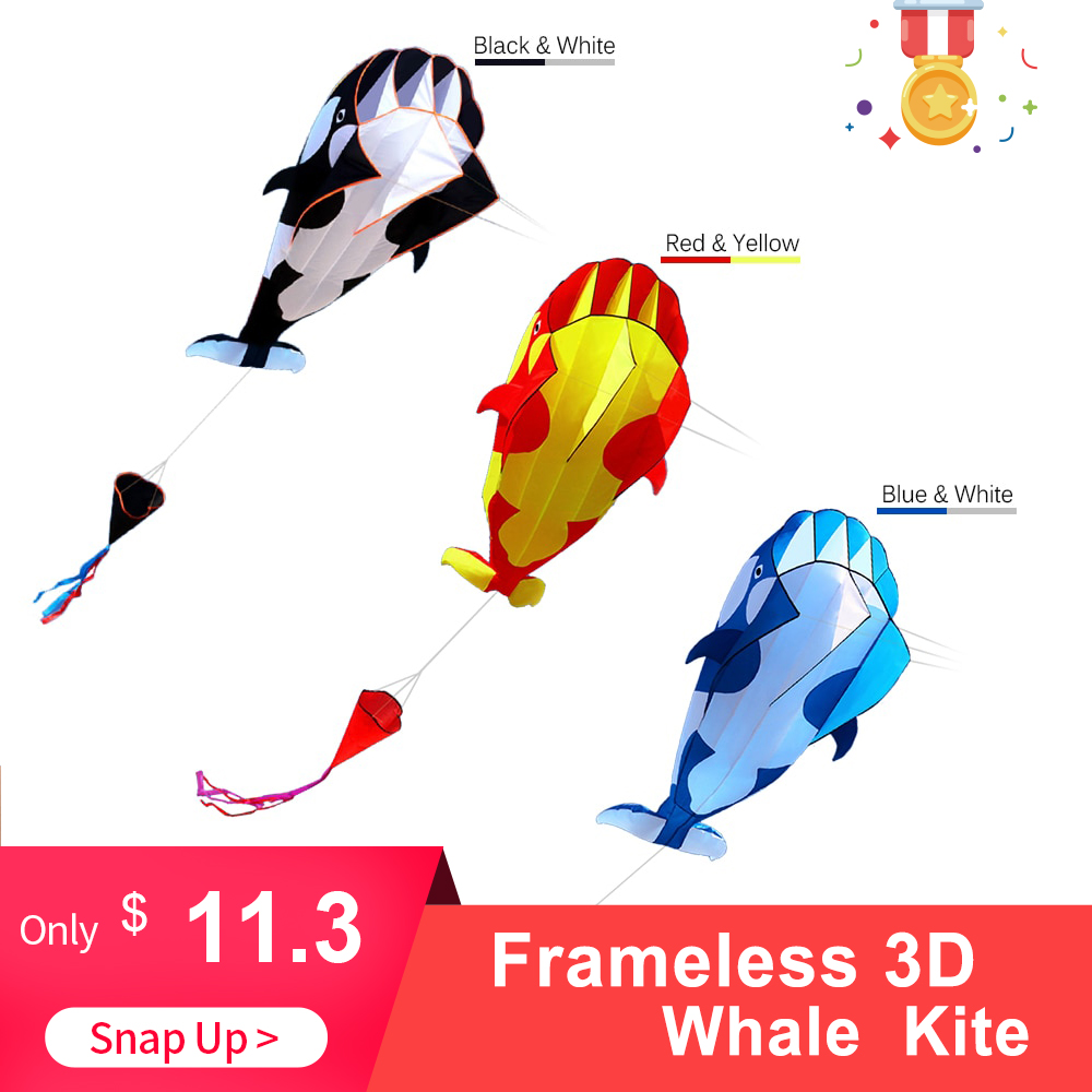 Kites High Quality 3D Kite Huge Frameless Soft Big Whale Flying Kite Sports Beach Kites Easy To Fly Outdoor Sports For Kids Adu