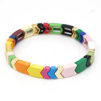 Shinus pulsera de arcoíris Pulseras de azulejos esmaltados flechas bohemias mujeres joyas de moda de verano brazaletes de aleación de pintura