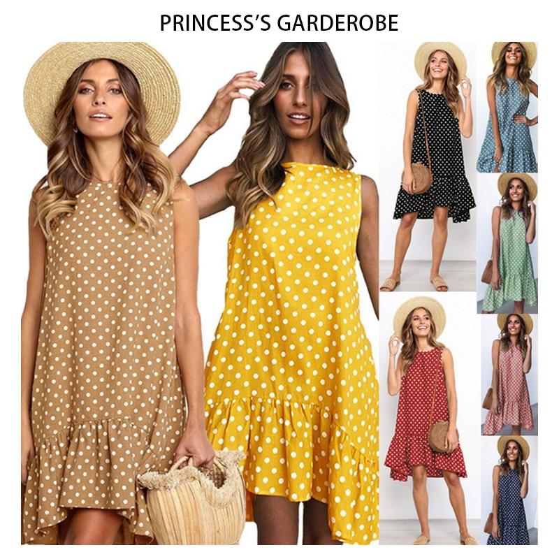 Vestido de verão feminino moda babados polka dot sem mangas casual magro vestidos de praia casual solto plus size bolinhas vestido pontos