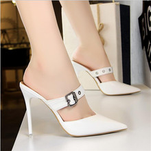 Women Shoes Pumps Pointed Toe Hollow Word band 10.5CM thin High Heels Boat Wedding Dress Office Party Shoes