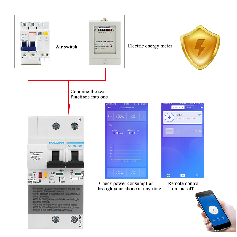 EWelink Single Phase Din Rail WIFI Smart Energy Meter Power Consumption KWh Meter Wattmeter With Alexa Google For Smart Home