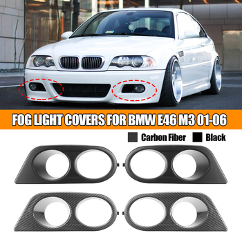 Pair Car Fog Light Covers Surround Air Duct For BMW E46 M3 2001-2006 Carbon Fiber Glossy Black image
