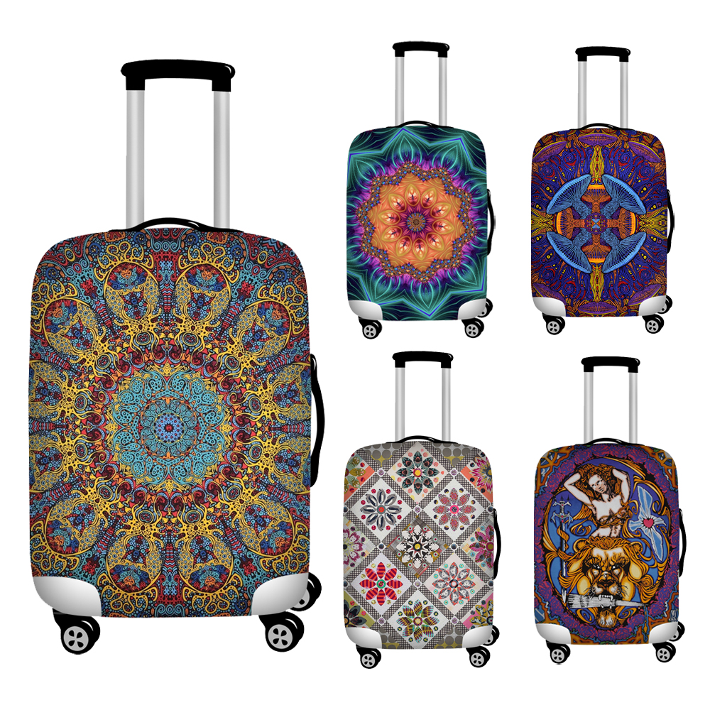 Nopersonality Mandala Style Stretch Luggage Cover Anti-dust Suitcase Protection Covers Travel Waterproof Baggage Cover Zipper