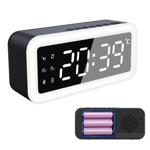 2020 New Wireless Bluetooth 5.0 Alarm Clock Speaker With 3 18650 Battery Temprature Display AUX\FM\TF Play Function