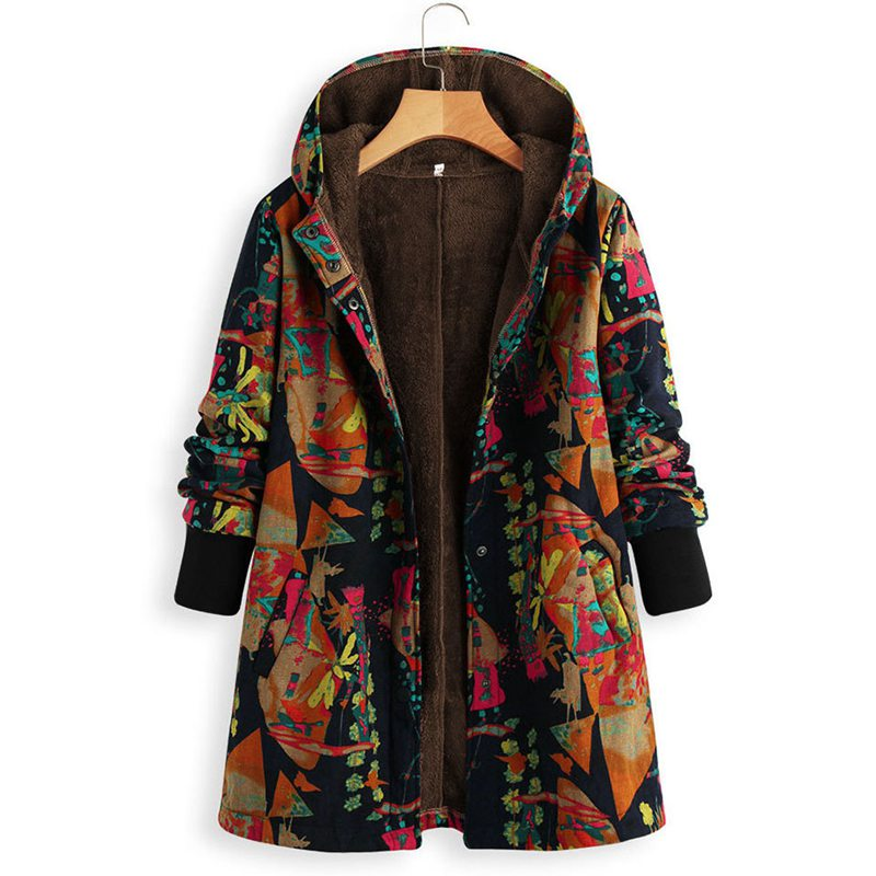 Mferlier Fleece Winter Ladies CoatsLarge Size 8XL Hooded Long Sleeve Retro Flower Print 3XL 5XL Navy Blue Yellow Women Parka