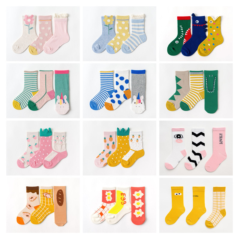 3pcs/lot Fashion Tube Socks Baby Children Super Fashion Cotton Tube Socks Dinosaur Flower Socks Baby Boy Girl All Accessories