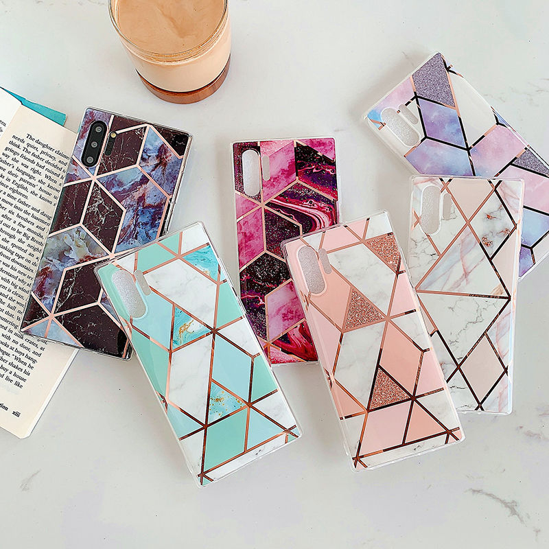 Electroplated Geometric Phone Case For Samsung Galaxy A50 A70 A10 S8 S9 S10 Plus Note 10Plus 8 9 Soft IMD Marble Back Cover Capa
