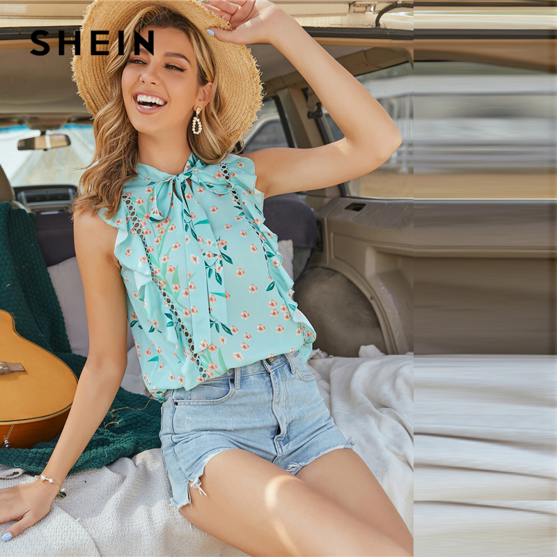 SHEIN Mint Green Tie Neck Floral Print Ruffle Trim Blouse Women Summer Boho Sleeveless Ruffle Hem Blouses