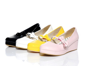 Image 3 - Anime cosplay sweet lolita shoes round head muffin heel shallow mouth women shoes bowknot kawaii shoes loli cos