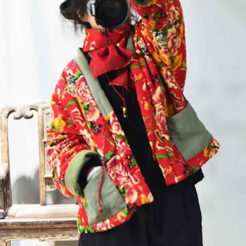 Johnature Vintage Parka 2020 Nuove Donne Vestiti Rappezzatura della Cinghia del Cappotto Per Il Tempo Libero Del Manicotto Pieno Con Pannelli Concise Signore Cappotti di Cotone