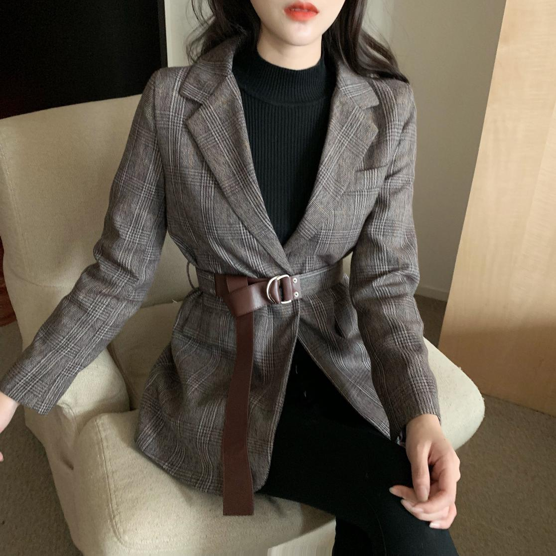 New Vintage Plaid Women Blazer Jackets With Belt Female Retro Suits Coat Spring Autumn Blazers Outerwear